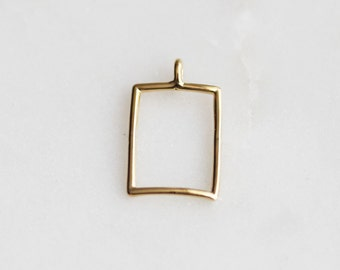 P1-912-G] Rectangle / 10 x 12mm / Gold plated / Pendant / 2 piece(s)