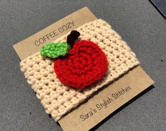 Crochet cozy with apple, apple coffee cozy/sleeve, cup cozy, teacher gift