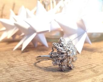 Art Deco Diamond Floral Ring Size 8