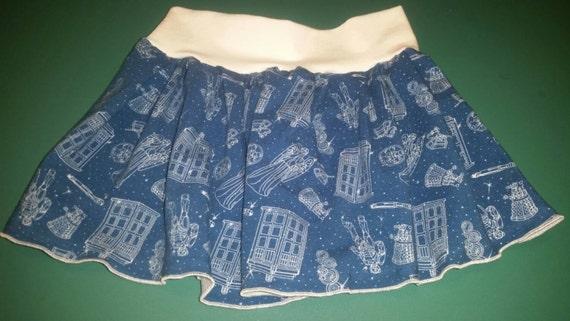 Girls yoga waistband skirt made with Dr. Who fabric