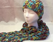 Hat & Scarf Set, Cotton Hat, Cotton Scarf, Lightweight Scarf, Blue, Purple, Yellow, Bright Scarf, Summer Accesory, Summer Scarf, Summer Hat
