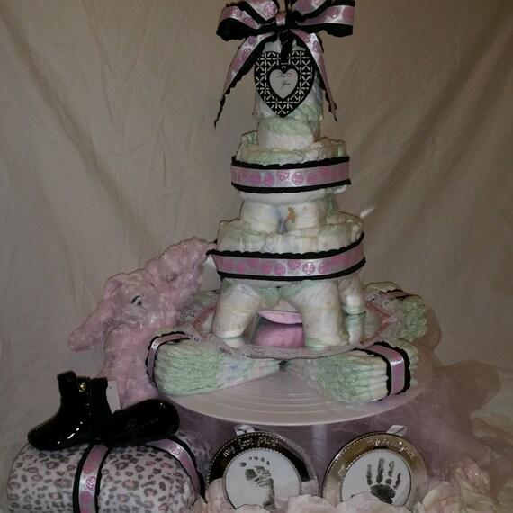 Eiffel tower 2 tier diaper cake |Eiffel Tower Diaper Cake