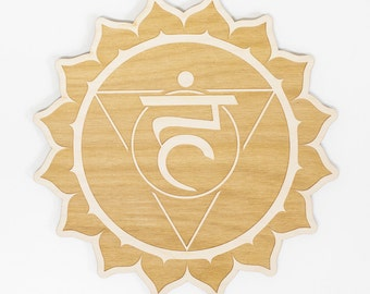 Throat Chakra Wood Sign - Spiritual Wall Art, Wood Chakra, Chakra Symbol, Throat Chakra Symbol, Chakra Sign, Visuddha Symbol