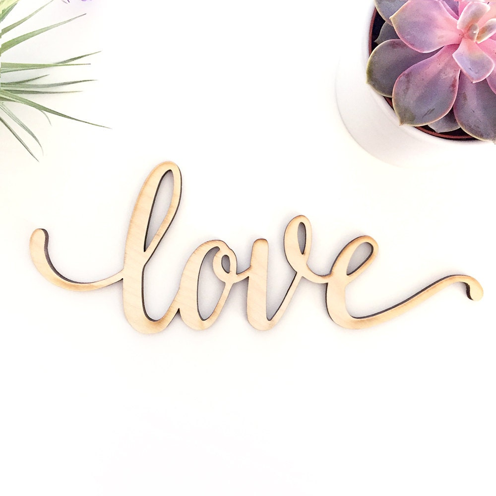 Script Love Wood Sign Wood Sign Art Wooden Love Wood Love