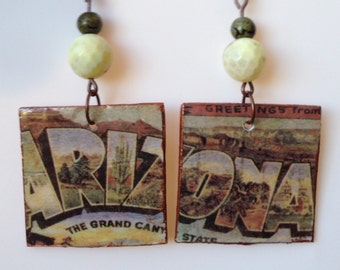 Arizona Up-Cycled Postcard Earrings, Cardboard Cereal Box