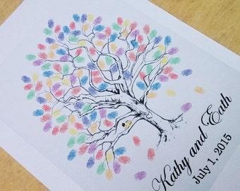 PDF-Fingerprint Tree Wedding Guest Book Alternative, Original Hand-drawn Design-Q012