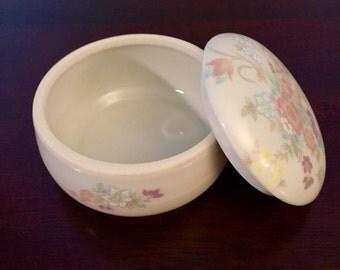 SALE! Vintage Takahashi San Francisco Round Porcelain Trinket Jar with Matching Lid & Floral Design