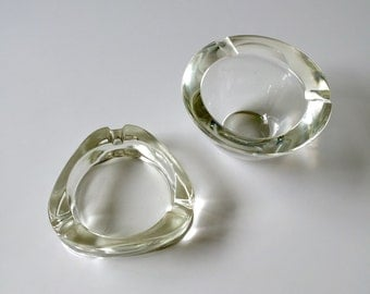 SALE! Two Small Vintage Clear Glass Ashtrays - Available Individually or Cheaper as a Pair