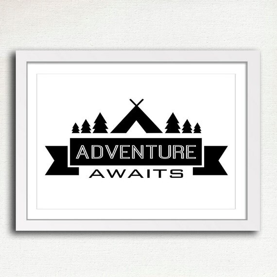Adventure Awaits Printable Camping Sign Black by