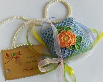 Crochet applique on organza, blue, drawer lavender sachet, pouch, handmade, gift