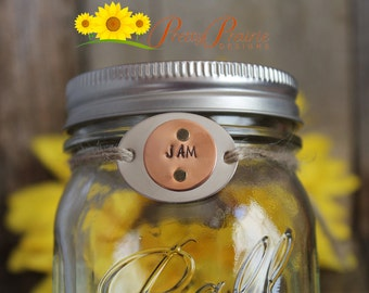 Hand Stamped Mason Jar Canning Tags - Metal Label Tags with Riveted Mixed Metal - Great for any Canner - Custom Canning Labels