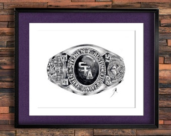Stephen F. Austin State University Graduation Ring Drawing PRINT, CLASSES 51-99