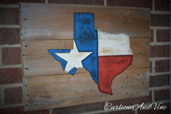 Texas State Flag - Pallet Wood Sign-Pallet Board-Rustic Barnwood Decor-Man Cave-Flags-Shabby-Reclaimed Wood-Hand Painte