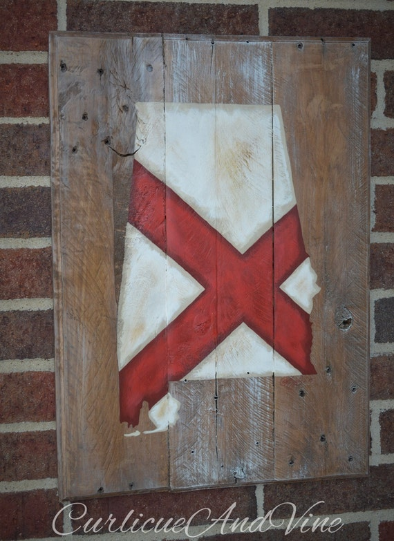Alabama State Flag - Pallet Wood Sign-Pallet Board-Rustic Barnwood Decor-Man Cave-Flags-Shabby-Reclaimed Wood