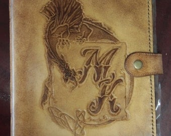 iPad 2 book case in Celtic style with monogram and Dragon / perfect gift for him / iPAD cover / leather cover