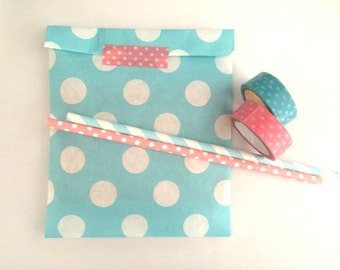 Light blue Dot Paper bags, Gift bags, packaging. 20XDot Paper Snack Sweet Treats bags, party supplies, Cute packaging,pastel colours,baby