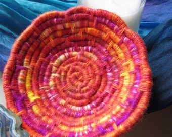 Vibrant, Wool-Free Multi-Color Coiled Jute Fiber Candle Bowl - Flecked Orange, Magenta, Yellow (Votive Candle Included)