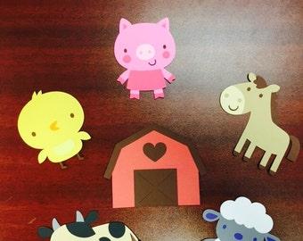 6 Farm Animal cutouts