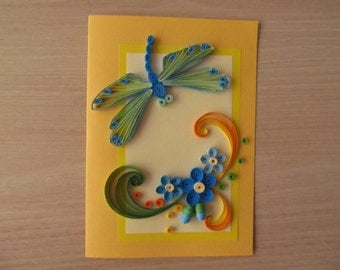 """Greeting card """"Dragonfly and flowers"""", paper handmade greeting card, paper filigree greeting card, birthday card"""