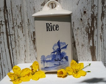 Vintage Delft Style Rice Canister with Lid