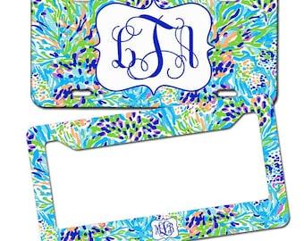 Monogrammed License plate - Lilly Pulitzer Inspired , Personalized Monogrammed License Plate Car Tag , Monogram License Frame