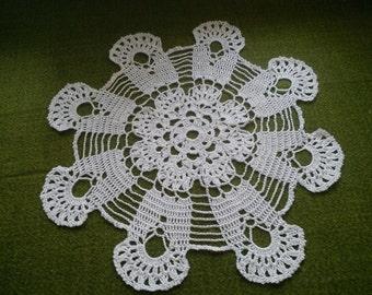 White bow crochet blanket