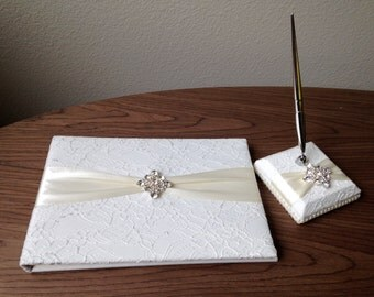 Classic/Vintage White Lace Guest Book + Pen with Square Brooch