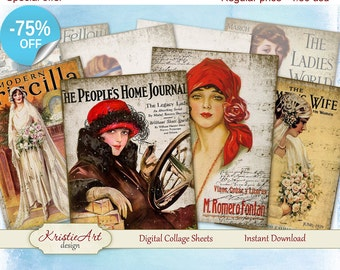 75% OFF SALE Digital Collage Sheet - Old Magazines Digital Cards C043 Greeting ATC Cards Printable download tags digital image cardmaking