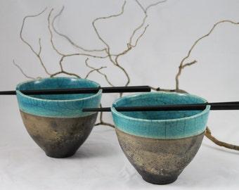 Raku rice bowl
