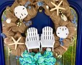 Seashell wreath-beach wreath-coastal decor-nautical door decor-beach house wreath-adirondack chairs-summer house decor-holiday gift-house w