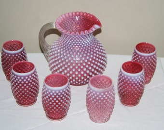 FENTON Cranberry Opalescent Hobnail 1960s Drink Set Pitcher and Six Tumblers