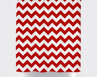 Red chevron curtains Etsy
