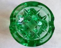 Vintage (1960's) Green Art Glass Ashtray - Made in USSR - Soviet Ashtray
