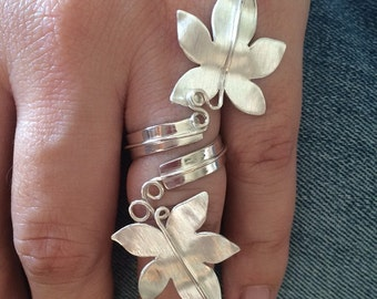 Adjustable ring of leaves made of Sterling Silver.  Original, stylish, special. Big ring.  Handmade.