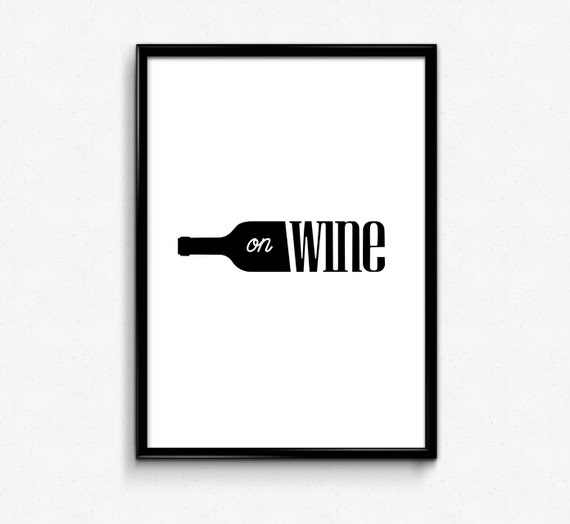 Black And White Wine Wall Decor : Modern kitchen wall wine bottle art black and white print