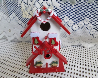 Christmas Wood Unique Birdhouse, Table Decor, Shelf Decor, Christmas Gift, Christmas Decor, Gifts for her, Gifts for women