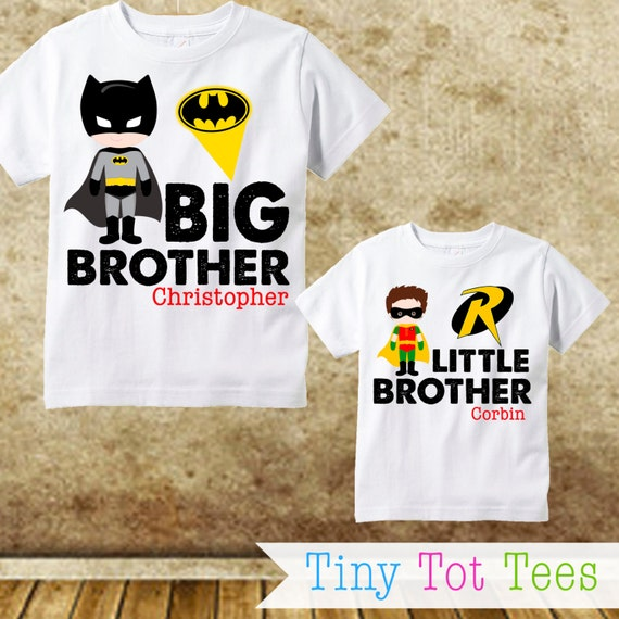 Batman and robin sibling shirt set personalized by tinytottees
