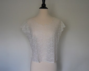 1960s Lace Cropped Blouse