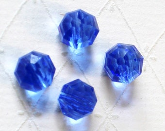 Vintage Cobalt Blue Glass Buttons - Charming Set of Buttons - 1950's Vintage Faceted Glass Ball Shaped Buttons