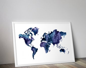 multicolor world map, download map wall art, Printable world map