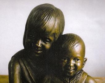 Custom portrait, portrait sculpture, child portrait, children, little sister, sisters, bronze