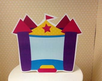 Boy or Girl Bounce House Party Cake Topper Decoration