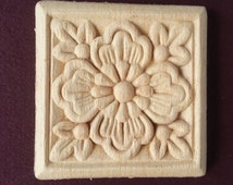 Wood Appliques Set of 4/ Flower Embossed Trim Ornaments/Craft Appliques/ Small Furniture mouldings