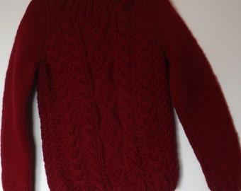 Hand knitted round necked childrens sweater
