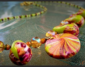 Hand made polymer necklace,exciting garden colors of green, pinks, orange exclusive beaded necklace,bright swirl cabochon,Garden Collection