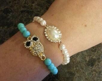 Bracelet turquoise owls