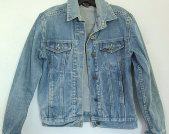 30% Off SaLE@@A Chic's,Vintage 70's Faded Blue Indie Mod DENIM Jacket By MISS LIZZ.S