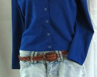 A Vintage 60's,Royal Blue Button Front CARDIE/TOP By Harry J.Sinski.M