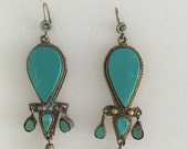 Vintage Metal Earrings Dangle Faux Torquise Long Earrings Navajo style earrings