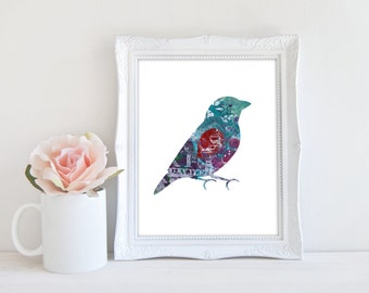 Printable Art, Cute Bird Print, Whimsical Bird Art, 8x10 Print, Instant Download